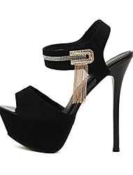 C-Show-Damenmode-Open Toe Ankle-Strap PU-Leder-Plattform Stiletto Pumps