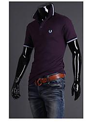 Dombomi estilo britânico Espiga de trigo impressão Causal manga curta Camisa Polo (roxo)