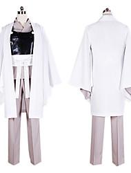 Вдохновлен Джинтама Gintoki Sakata Аниме Косплэй костюмы Косплей Костюмы / Кимоно Пэчворк Белый / Черный / серыйкимоно Пальто / нагрудный