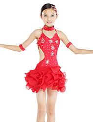 Danse latine Robes Enfant Spectacle Mousseline Elasthanne