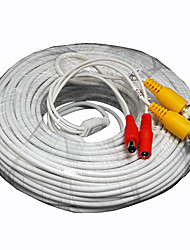 125 Foot All-in-One BNC Video and Power Cable with Connectors, White