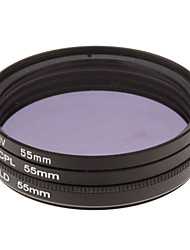 CPL + UV + FLD Filter Set for Camera with Filter Bag (55mm)
