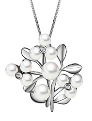 Women's 925 Sterling Silver Freshwater Pearl Romantic Flower Necklace