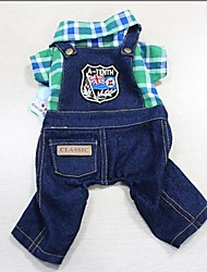 Dog Pants / Jeans Green / Rose Dog Clothes Summer Jeans / Plaid/Check