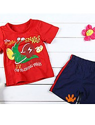 Boy's Short Sleeve Round Collar Red Snail T-shirts + Blue Short Pants Cotton Twinsets