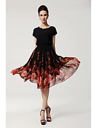 Women's Ruffle Batwing Sleeve Plus Size Stunning Print Ball Gown Dress