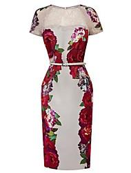 Women's Floral Print Mesh Bodycon Dress