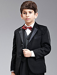 Seven Pieces Black Ring Bearer Suit Tuxedo With Two Bow Ties