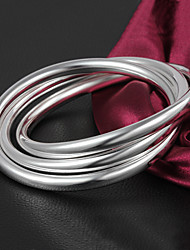 High Quality Simple European Silver Silver-Plated Locked Bracelets