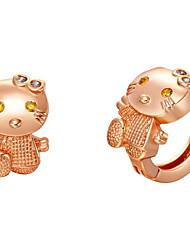 Argent Sweet And plaqué or et oxyde de zirconium Boucles d'oreilles mignon de femmes de chat (plus de couleurs)