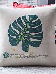 Vert foncé Feuille tropicale avec la devise coussin décoratif couverture