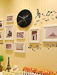 White Color Photo Frame Collection Set of 9 with a Black Disc Clock and Music Wall Sticker