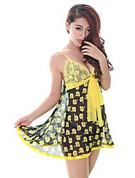 DNYH Floral Print Mesh Sexy Dress