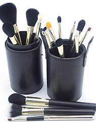 15Pcs High Quality Professional Gold Aluminum  Makeup Brush Set