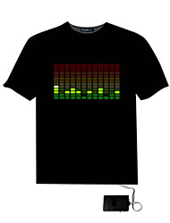 Men's Sound Activated Light Up And Down DJ Disco Dancing LED EL T Shirt