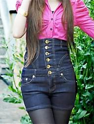Women's High Waist Single Gold Breasted Denim Pants
