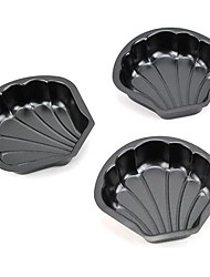 Sea Shell Shape Muffin Cupcake Pans and Tart Pans, 3 Pieces per Set, Non-sticked Coated