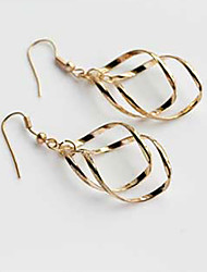MISS U Women's Fashion Twist Knit Gold Earrings