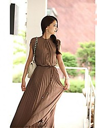 Women's Bohemian Style Stand Collar Layered Dress