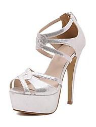 """De espumantes Glitter Mulheres """"Stiletto salto peep toe Sandálias econômicos com Zipper Calçados"""