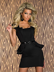 Sexy Black Women's Short Sleeves Sophisticated Office Dresses with Belt