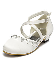Satin Flower Girls' Wedding Flat Heel Comfort Flats with Rhinestone Shoes(More colors)