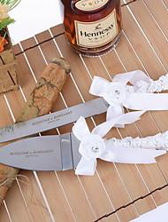 Inox Ensemble de service Thème classique Stras Ruban Nœud papillon blanc Boîtier à cadeau