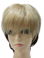 Capless Short Black And Light Golden Mixed Color Straight Synthetic Hair Full Wig