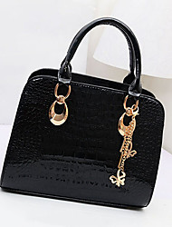 Ruili Women's Simple Black Patterned With Hang Drop PU Leather Tote