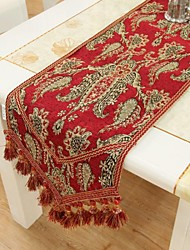Style européen velours florale Red Table Runner