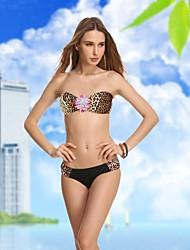De la Mujer Leopardo retro del diamante sin tirantes Bikini Set Beachwear atractivo del traje de natación