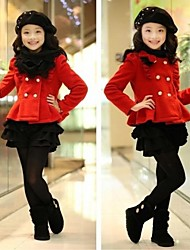Girl's Double-breasted Woolen&Jacket Skirt Sets