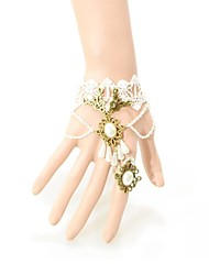 Elonbo White Lace and Crystal Gothic Lolita Bracelet