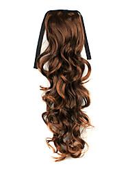 Ruban noué Lignt Brown longs bouclés Ponytail Extensions de cheveux synthétiques