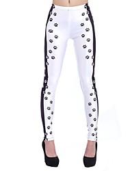 Elonbo Women's Digital Printing Coloured Drawing or Pattern the Dog Plum Footprints Style Tight  Leggings