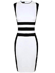 CD Stripes Splicing Dress-H1049