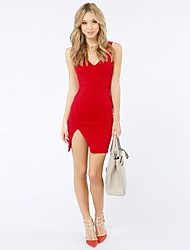 Women's V-Collar Hem Slit Halter Slim Mini Dress