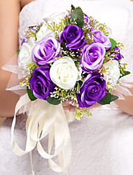 Pretty Round Shape Rose Design Silk Wedding Bouquet