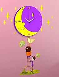 Cartoon DIY Children Mute Moon Sticker Clock