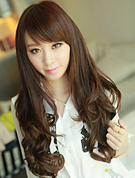 High Quality Synthetic Capless Long Wave Light Brown Side Bang Wigs