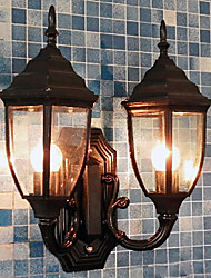 Outdoor Wall Light, 2 Luce, Pittura Classic Vetro di alluminio