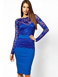 Women's Solid/Lace Blue/Red Dress , Sexy/Bodycon Bateau Long Sleeve Lace