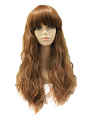 Capless Synthetic Light Brown Long Curly Synthetic Hair Wig