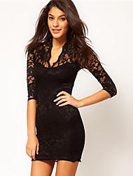 Z & G Mulheres Pescoço V Sexy Bodycon mangas 3/4 vestido de renda preta