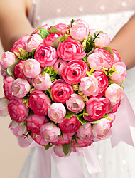 """Bouquets de Noiva Redondo Rosas Buquês Casamento Seda Rosa 11.02""""(Aprox.28cm)"""