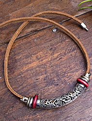 Vintage (Silver Hollow Pendant) Brown Leather Statement Necklace (1 Pc)