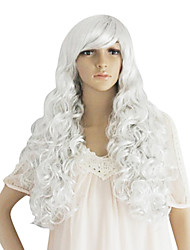 Long White Synthetic Wavy Wig Side Bang