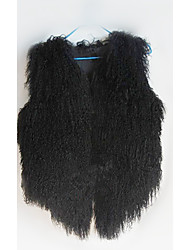 chaleco de piel con mangas de lana sin cuello partido / chaleco ocasional (más colores)