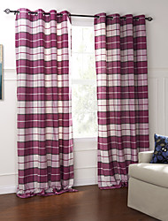 (Two Panels) Classic Country Rose Plaid Jacquard Eco-friendy Curtain