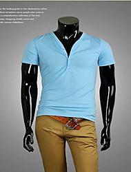 Herren T-shirt-Einfarbig Freizeit Organische Baumwolle Kurz-Schwarz / Blau / Grün / Orange / Rosa / Weiß / Grau